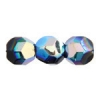 Fire polished 10mm Big Hole Round Black Aurora Borealis